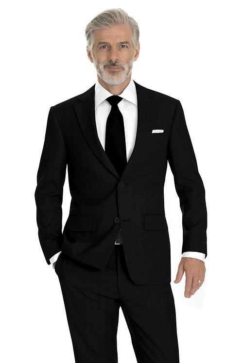 Black Herringbone Suit