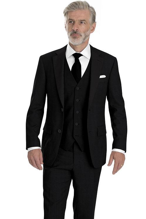 Black Herringbone Tuxedo with Vest