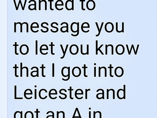 Fantastic to receive a message from one of my tutees that they are going to Uni to study medicine..