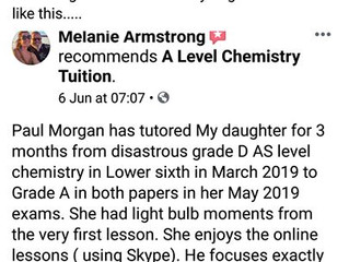 Why do I tutor A Level Chemistry? So I can see students achieve results like this........