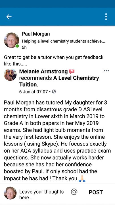 Online A Level Chemistry Tutor | Paul Morgan | Blog