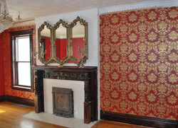 Gold Damask on Red