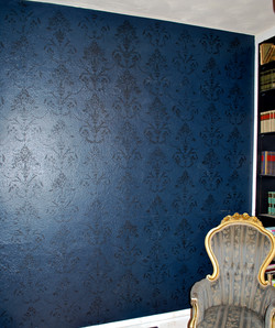 Black and Blue damask library