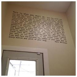 hand painted Walt Whitman excerpt.