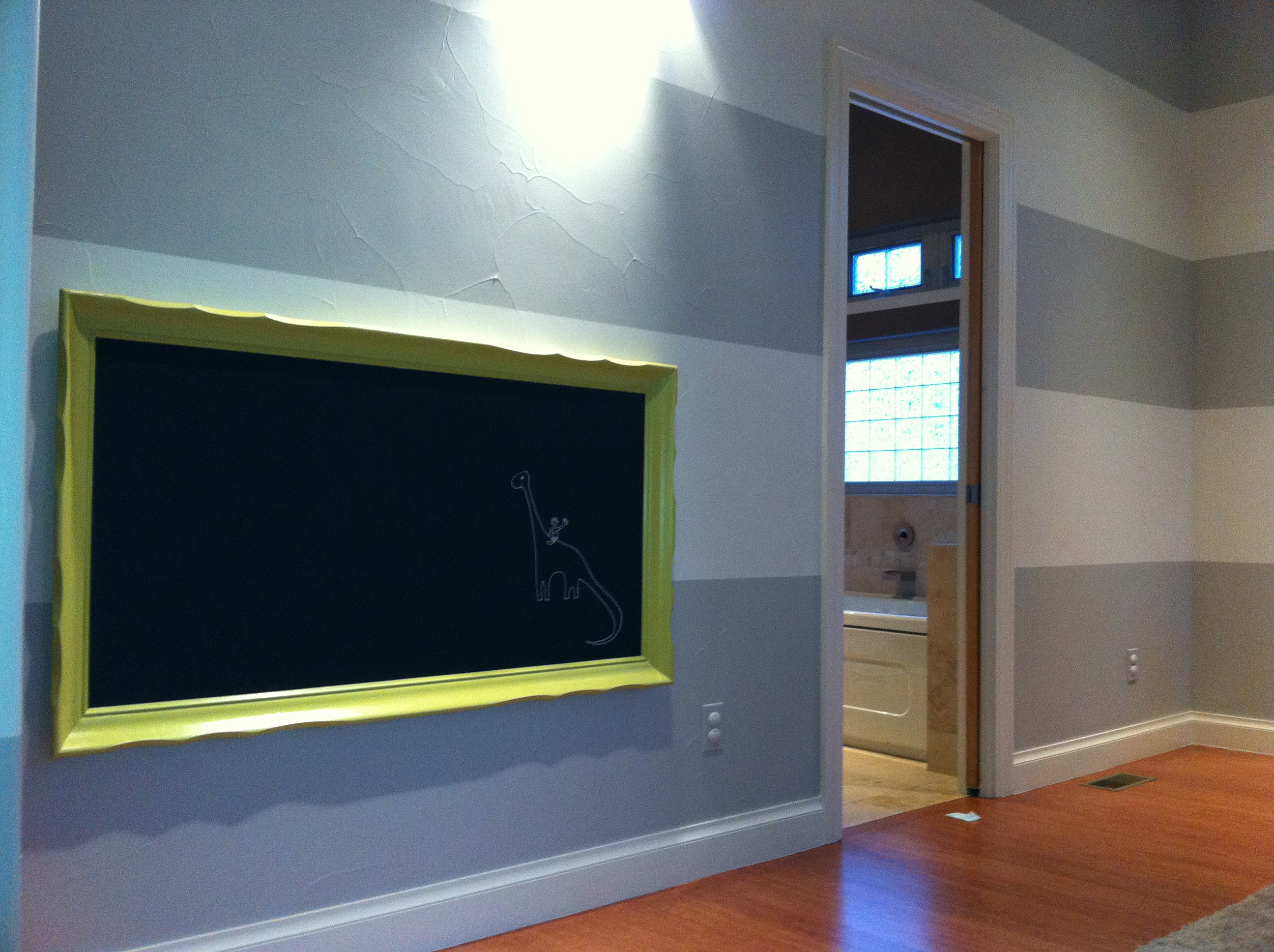 Striped Playroom w/Custom Chalkboard