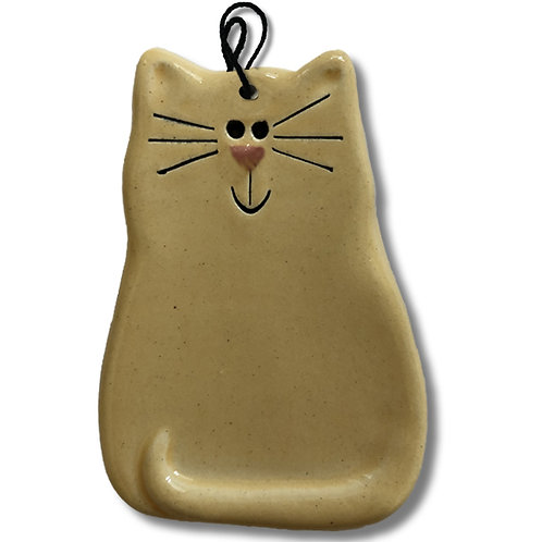 "3"" x 2"" Cat Ornament: Solid Yellow"