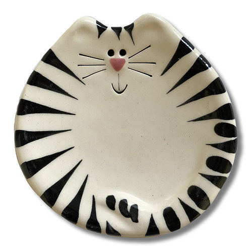 "3"" Mini Cat Dish: White and Black Tiger"
