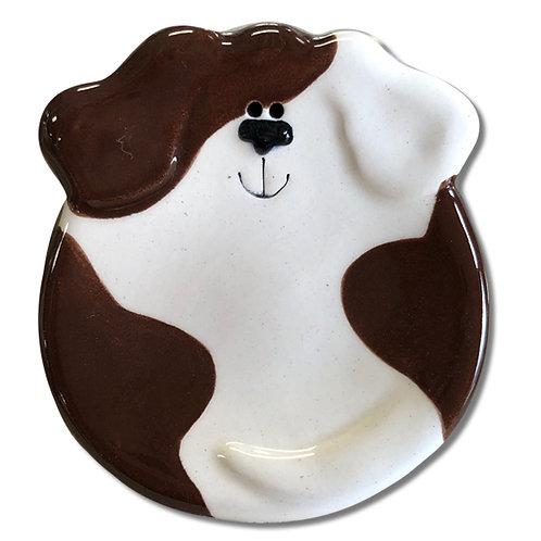"""3"""" Mini Dog Dish: Dark Brown Spots"""