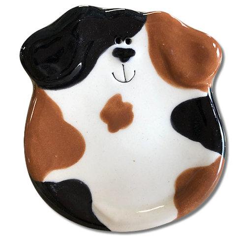 """3"""" Mini Dog Dish: Tan and Black Spots"""
