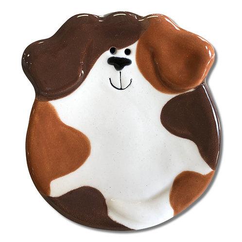 """3"""" Mini Dog Dish: Tan and Dark Brown Spots"""