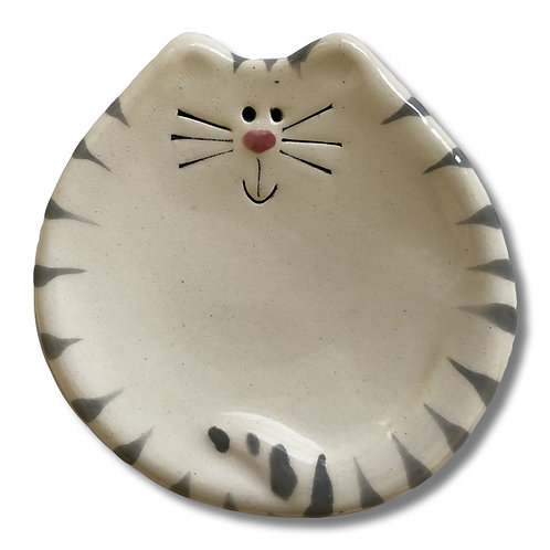 "3"" Mini Cat Dish: White and Gray Tiger"