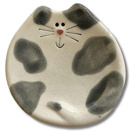 "3"" Mini Cat Dish: White and Gray Spots"