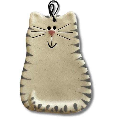 "3"" x 2"" Cat Ornament: White & Gray Tiger Cat"