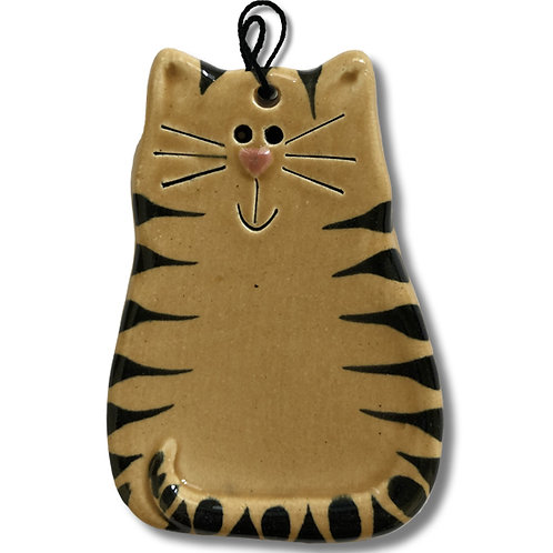 "3"" x 2"" Cat Ornament: Tan and Black Tiger"