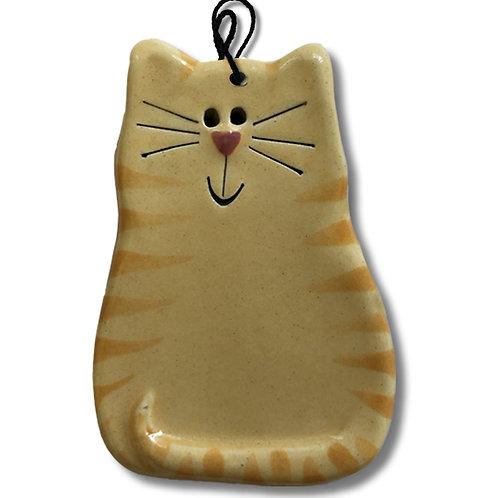 "3"" x 2"" Cat Ornament: Yellow & Orange Tiger"