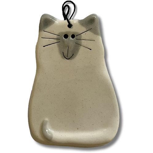 """3"""" x 2"""" Cat Ornament: White & Gray Siamese"""