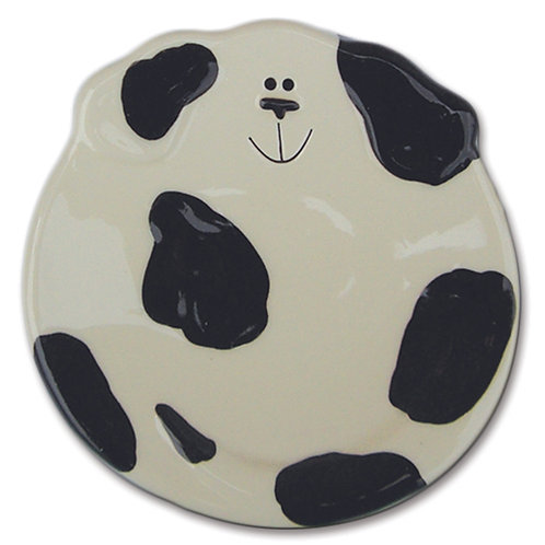 "5"" Dog Dish: Spotted White and Black"