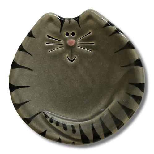"""3"""" Mini Cat Dish: Gray Tiger"""