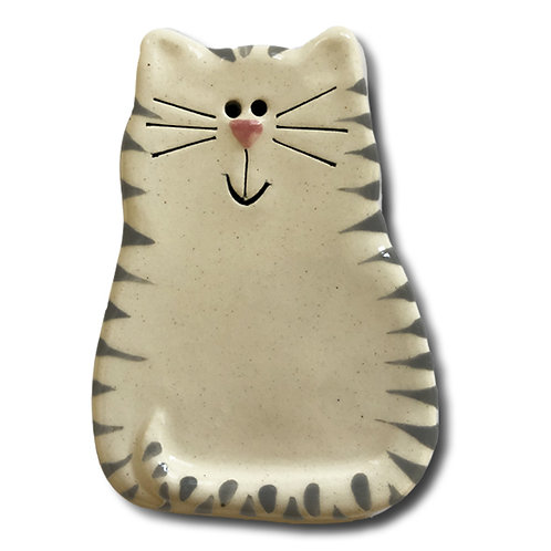 "3"" x 2"" Cat Magnet: White & Gray Tiger"