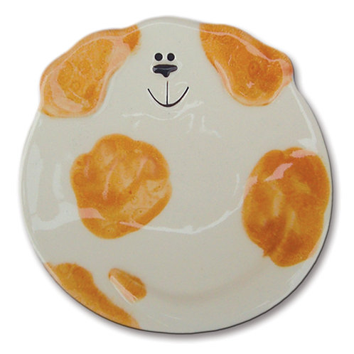 "5"" Dog Dish: Spotted White and Orange"