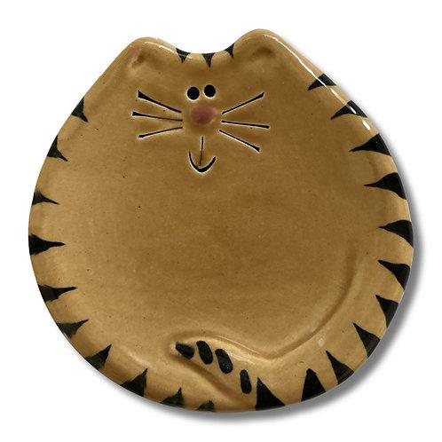 """3"""" Mini Cat Dish: Tan Tiger"""