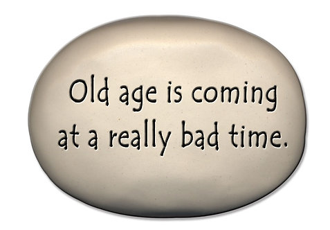 "3.5""x5""x1  ""Old age is coming at a really bad time."""