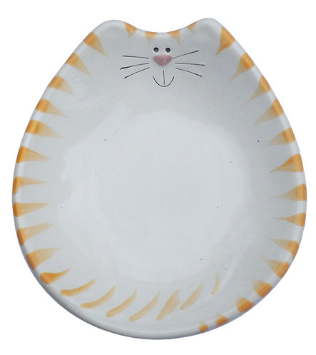"6""x7""x1"" Cat Feeding Dish: White and Yellow Tiger"