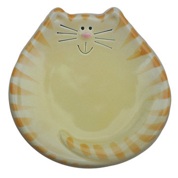 "5"" Cat Dish: Yellow and Orange Tiger"