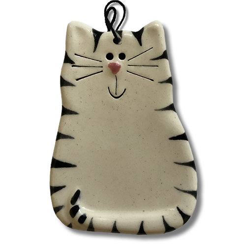 "3"" x 2"" Cat Ornament: White & Black Tiger Cat"