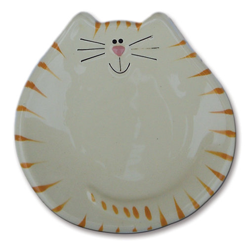 "5"" Cat Dish: White and Yellow Tiger"