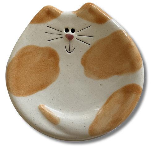 "3"" Mini Cat Dish: White & Orange Spots"