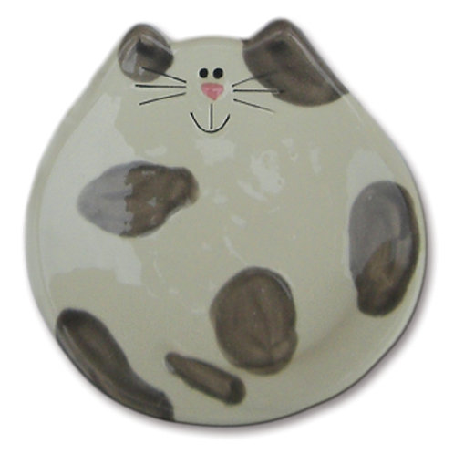 """5"""" Cat Dish: Spotted White and Gray"""