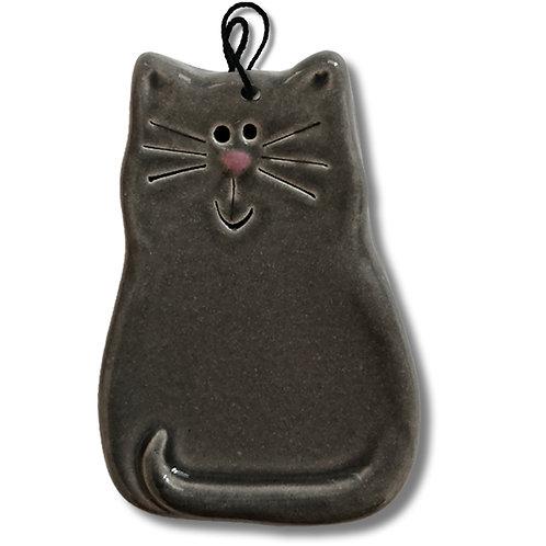 """3"""" x 2"""" Cat Ornament: Solid Gray"""