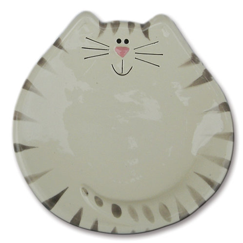 """5"""" Cat Dish: White and Gray Tiger"""