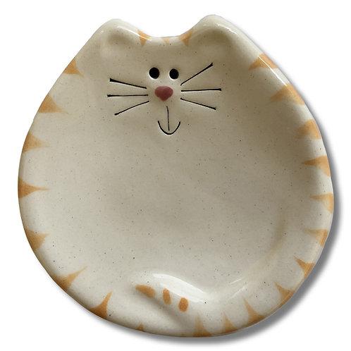 "3"" Mini Cat Dish: White and Yellow Tiger"