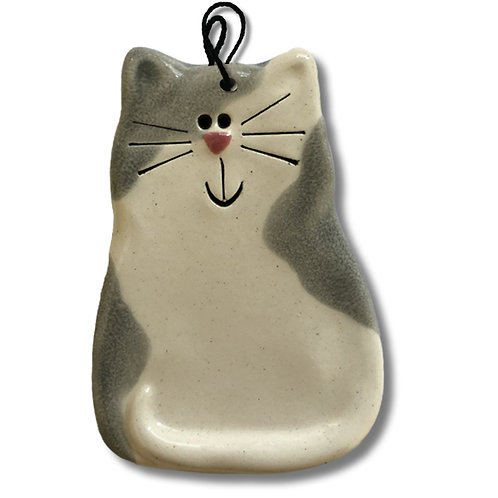 "3"" x 2"" Cat Ornament: Spotted Gray"