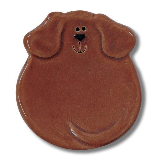 """3"""" Mini Dog Dish: Solid Dark Tan"""