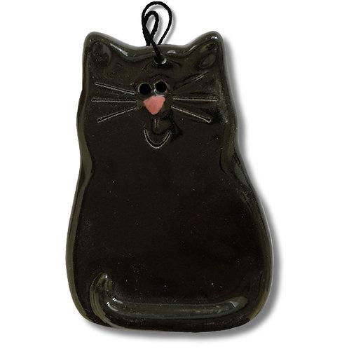 """3"""" x 2"""" Cat Ornament: Solid Black"""