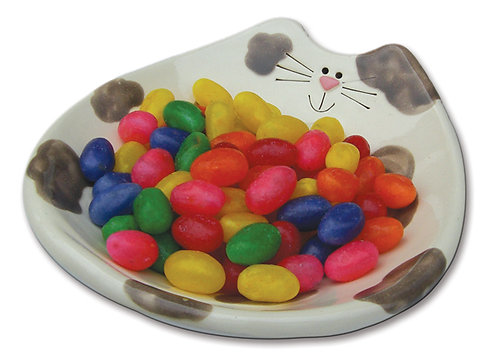 "6""x7""x1"" Cat Feeding Dish: White & Gray Spots"