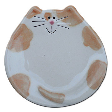 """5"""" Cat Dish: Spotted White and Orange"""