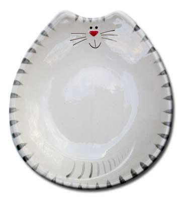 "6""x7""x1"" Cat Feeding Dish: White and Gray Tiger"