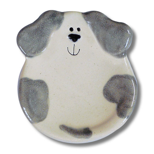 "3"" Mini Dog Dish: Spotted White and Gray"