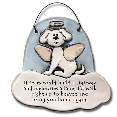 "3""x3"" Dog Memorial Ornament ""If tears could build a stairway and memories a lane"