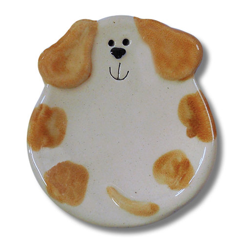 "3"" Mini Dog Dish: Spotted white and Orange"
