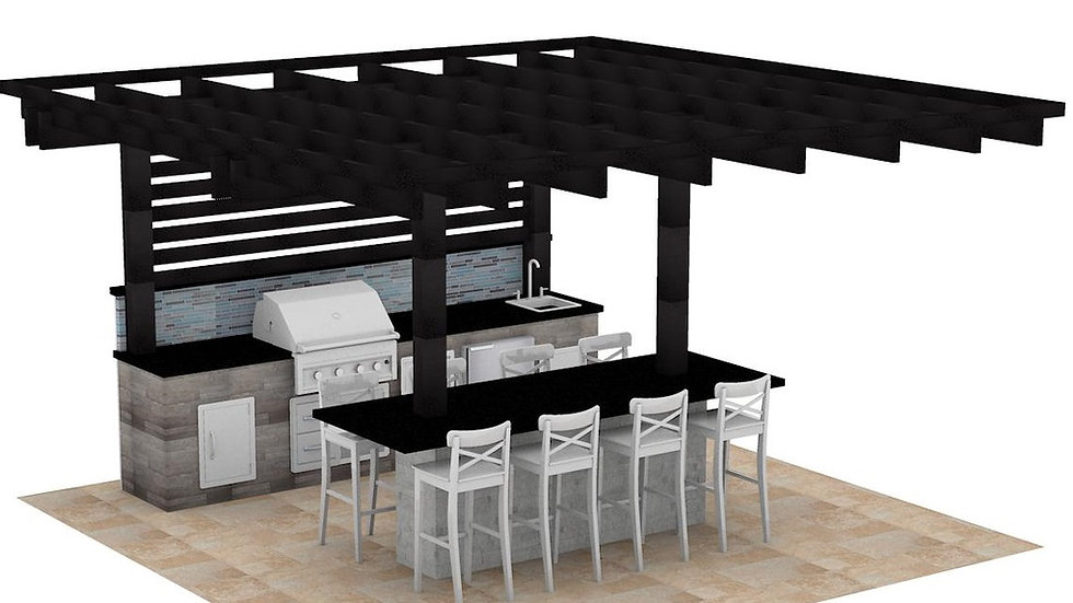 Outdoor Kitchen 12'x12' with 16'x16' Pergola.