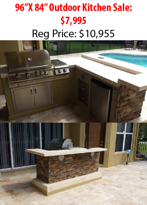 Travertine Countertops, Granite Countertops. U2022 304 Stainless Storage Doors  And Drawers. U2022 Grills, Burners And Fridges With Lifetime Warranty.