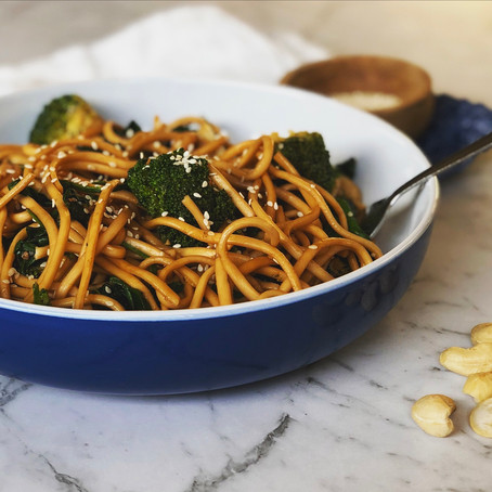 soba noodles with greens