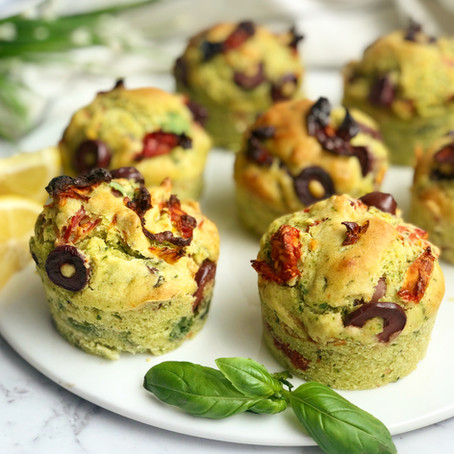 pesto, olive and sun dried tomato muffins