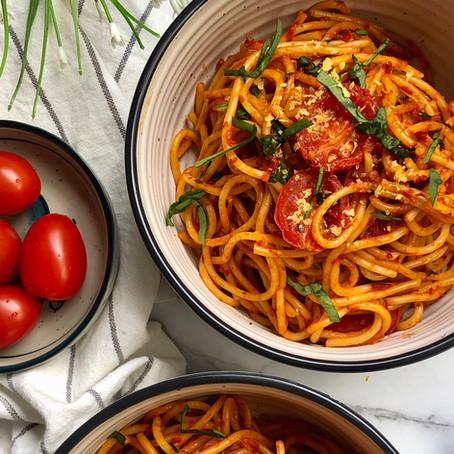 spaghetti with pepper paste