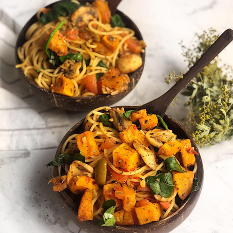 pumpkin, mushroom and spinach spaghetti